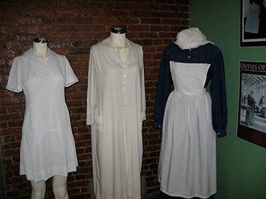 Here are some of the uniforms and clothing worn by nurses from various eras of the asylum's history.
